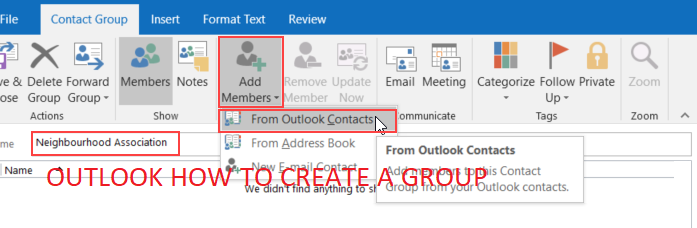 Outlook how to create a group