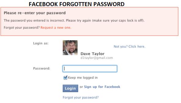 Facebook Forgotten Password